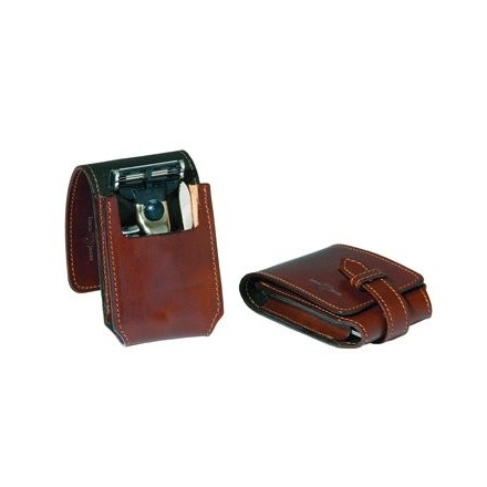 Brown leather travel case with Mach 3 ® razor, nail clippers and tweezers.