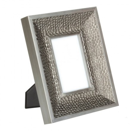 Pewter coloured, dimpled effect wooden photo frame
