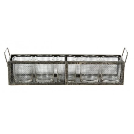 Metal mesh tray with five clear glass votives.