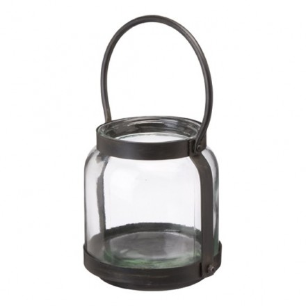 Rustic chunky glass and metal lantern