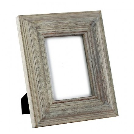 Driftwood effect pale grey paintwashed photo frame.