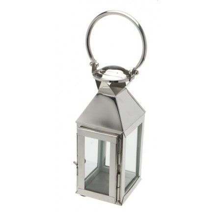 Polished glass and chrome coloured lantern