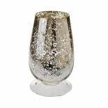 Medium glass hurrricane vase - gold speckled effect