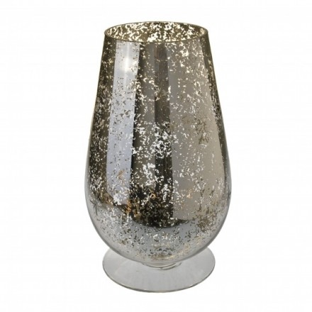Large glass hurricane vase - gold speckled effect