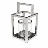 Large chrome and glass square shaped lantern