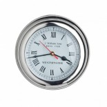 Chunky chrome nautical clock with roman numerals