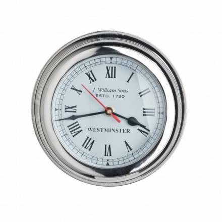 Chunky chrome nautical clock with roman numerals