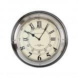 Large black and chrome coloured clock with mixture of roman numerals and numbers