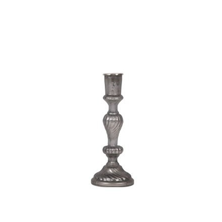 Small pewter coloured glass candlestick