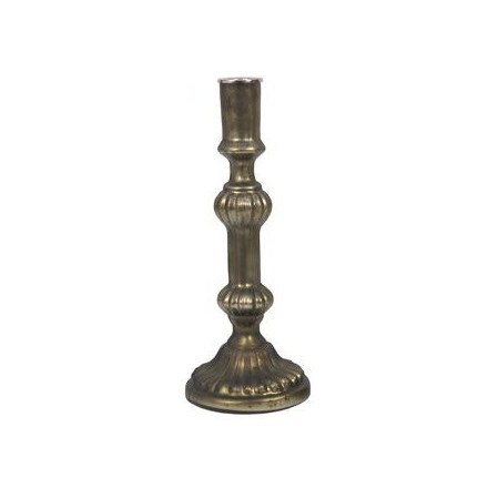 Large dark olive coloured glass candlestick