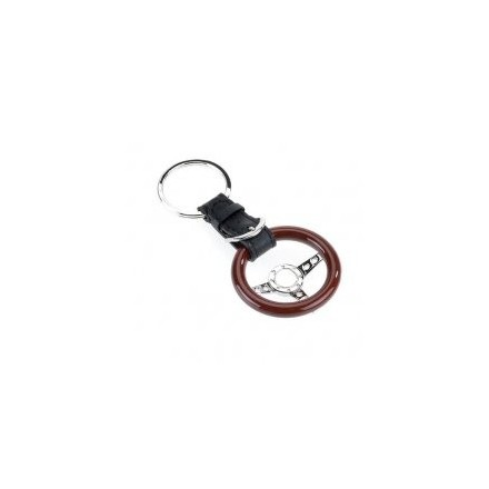 Rosewood and leather steering wheel keyring