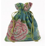 Smokey blue velvet drawstring bag with peony print