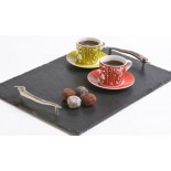 Large serving tray with stainless steel chilli shaped handles