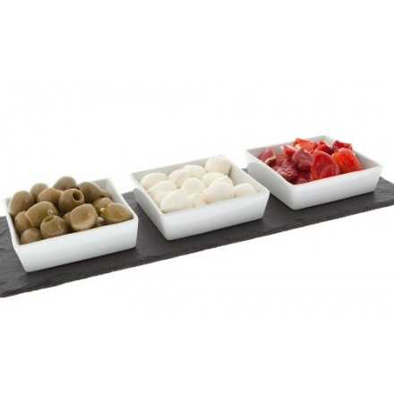 Mezze slate platter with ceramic inserts.