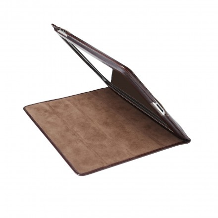 iPad cover - rich chocolate brown leather/fabric