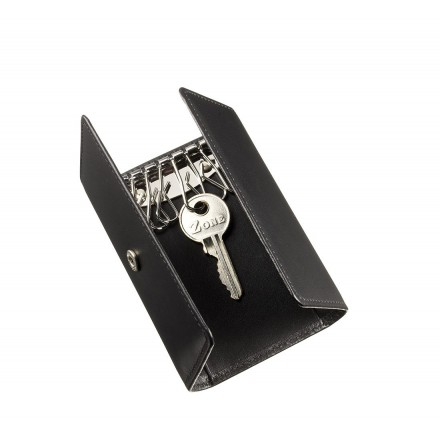 Black leather folding key case