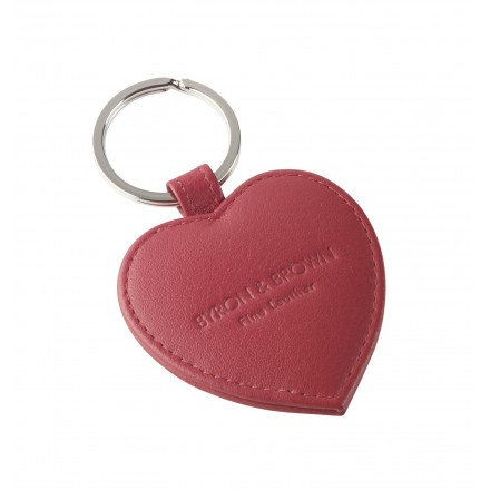 Red heart shaped Italian leather keyring