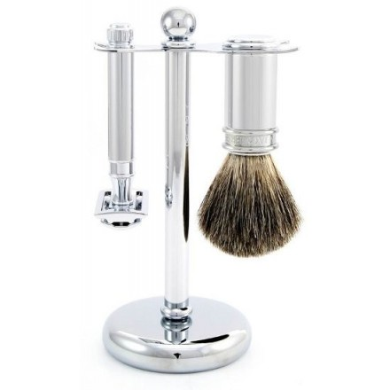 Double edge safety razor wet shave set with stand