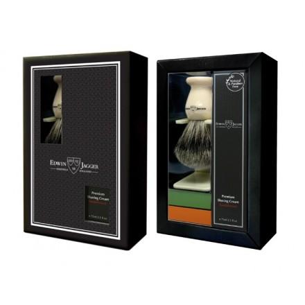 Ivory coloured badger shaving brush, drip stand and Sandalwood shaving cream