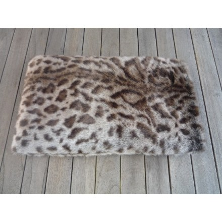 Stone jaguar faux fur wheat and lavender bag