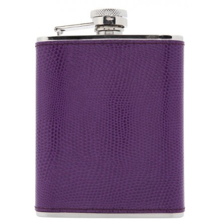 Royal Purple Stainless steel and leather hip flask