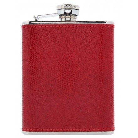 Vibrant Red leather and stainless steel hipflask.