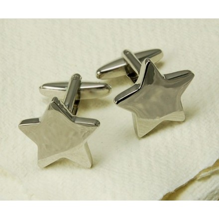 Highly polished silver coloured star cufflinks