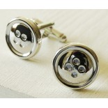 Shiny buttons - highly polished silver coloured cufflinks
