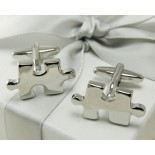 Jigsaw pieces - shiny, silver coloured cufflinks