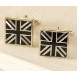 union Jack white mother pf pearl and black glass cufflinks