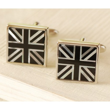 Union Jack black and white mother of pearl cuff links