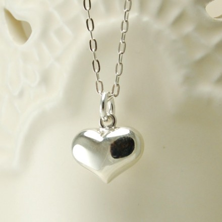 Sterling silver heart and silver chain necklace