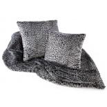 Grey Leopard print faux fur throw