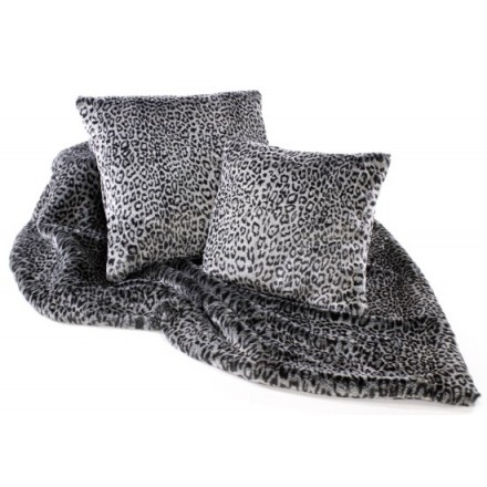 Grey Leopard print faux fur sofa throw