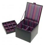 Black leather square cuff link and watch box (purple striped lining)