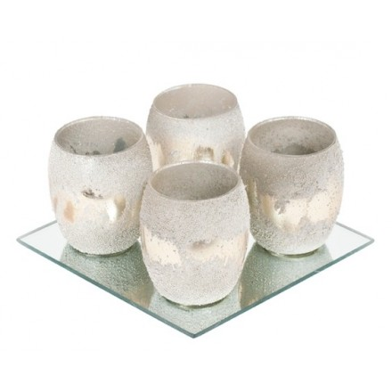 Tea light votives, set of four with reflective mirror tray