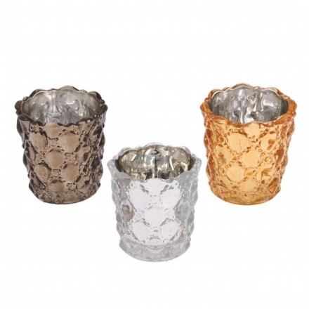 Set of three quilted glass effect tea light votives