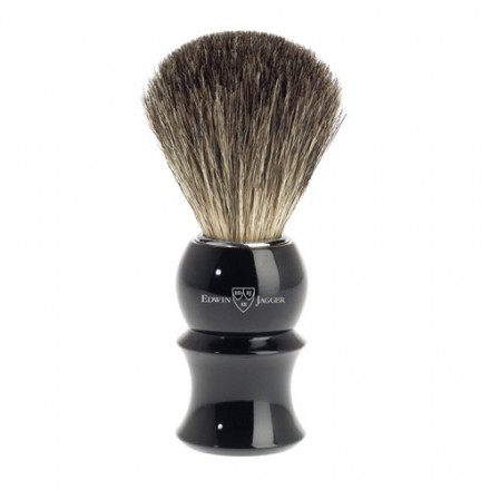 Badger hair shaving brush - ebony coloured handle