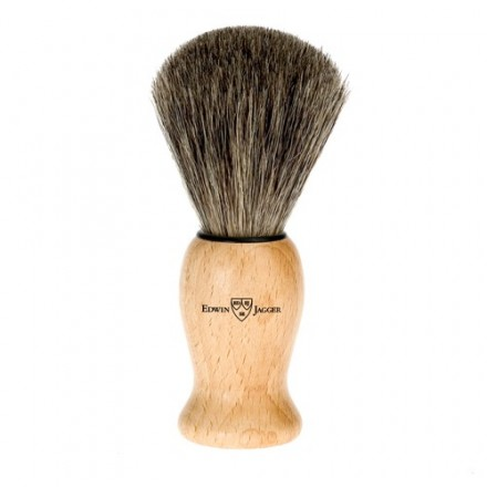 Badger hair shaving brush -  laquered Beech wooden handle