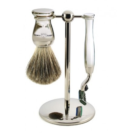Slimline nickel plated stand with Mach 3 ® razor and shaving brush
