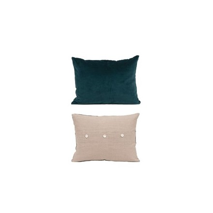 Velvet/Linen cushion in Deep Atlantic/Teal