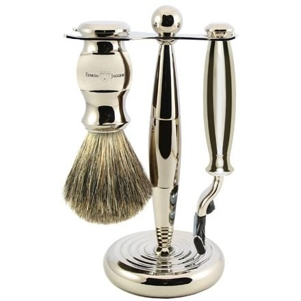 Chunky nickel plated with stand, Mach 3 ® razor and shaving brush
