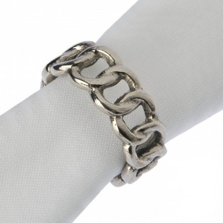 Pair of silver coloured napkin rings in fixed chain design