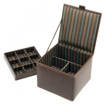Brown leather square cufflink and double watch box (teal striped lining)