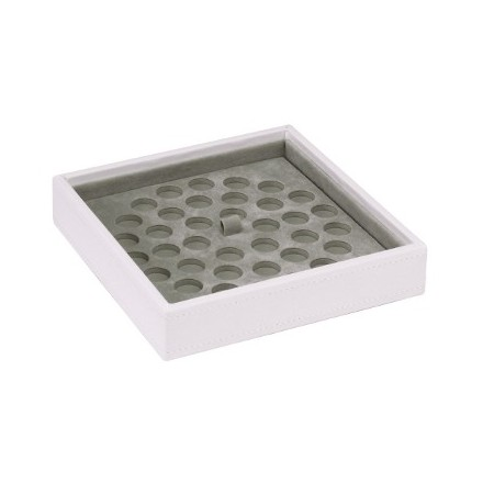 White stackable tray with dimple mat for bead storage
