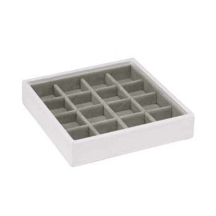 White stackable criss cross tray  - earring storage