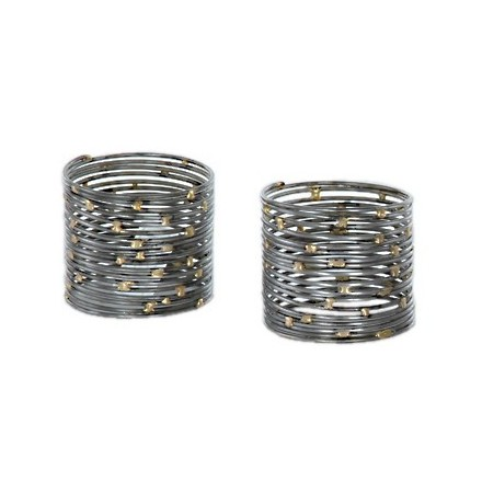 Pair of wired napkin rings with brass coloured dots