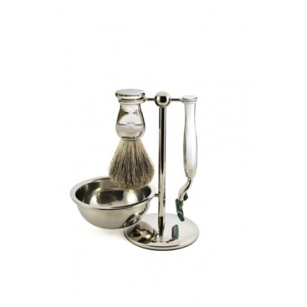 Nickel plated stand with Mach 3 ® razor, shaving brush and bowl