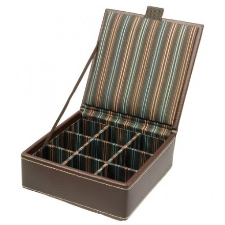 Small brown leather single layer cufflink box.