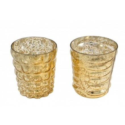 Two large challis style votives for tea lights